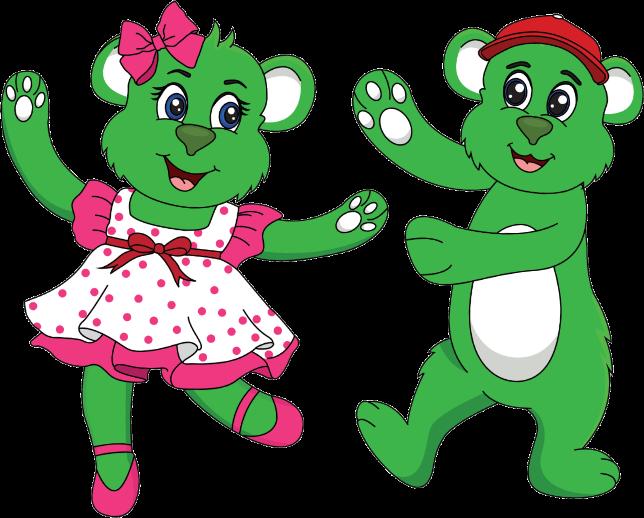 two green bears